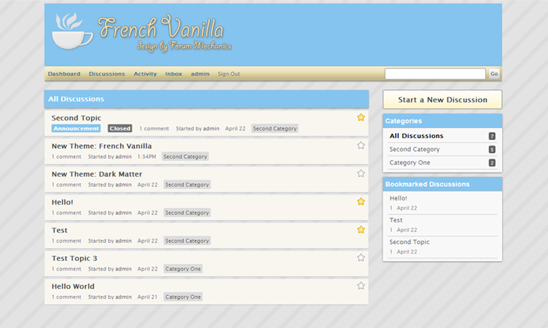 "French Vanilla is a light, elegant theme for Vanilla 2. It features unique ""breadcrumb"" links to help users navigate your forum."
